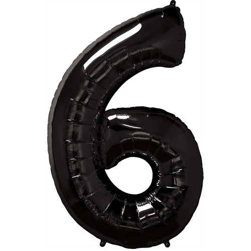 "34"" Black Number 6 Foil Balloon"