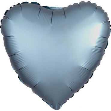 "18"" Steel Blue Satin Heart Foil Balloon"