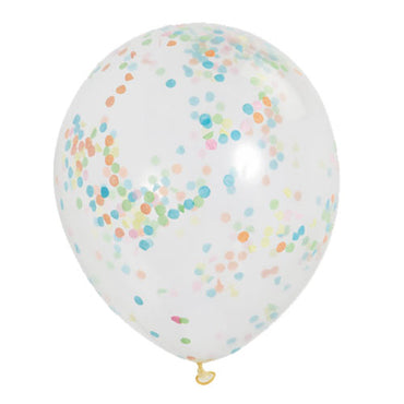 12 inch Clear Latex Balloons with Multi Colour Confetti 6pc