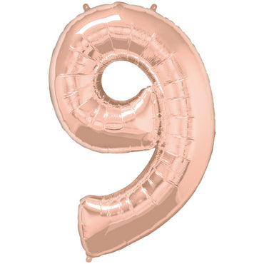 "34"" Rose Gold Number 9 Foil Balloon"