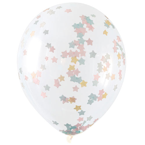 16 inch Clear Latex Balloons with Pastel Star Confetti 5pc