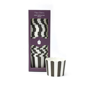 Black Stripe Baking Cups