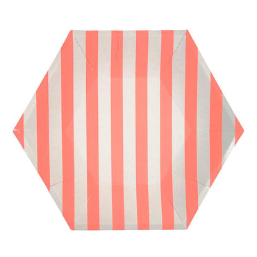 Meri Meri Coral Striped Plates (Large)