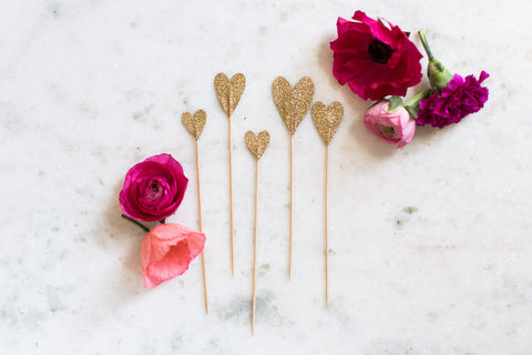 Cake Topper Hearts Gold 6pc