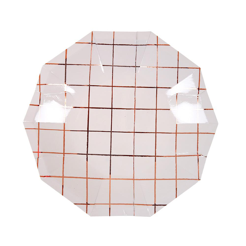 Meri Meri Rose Gold Grid Plates (Small)