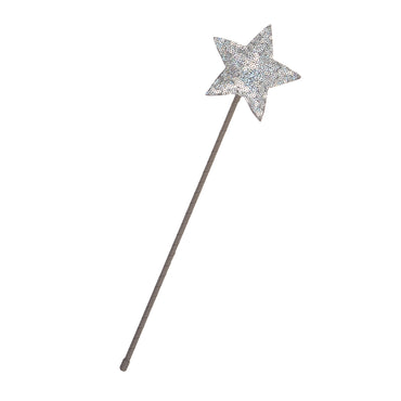 Silver Sparkle Sequin Star Wand