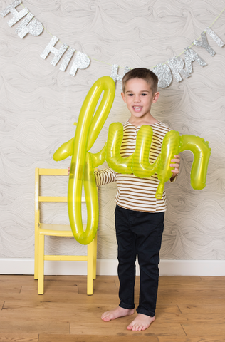 "43"" Fun Lime Green Script Foil Balloon"
