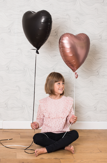 "18"" Black Satin Heart Foil Balloon"
