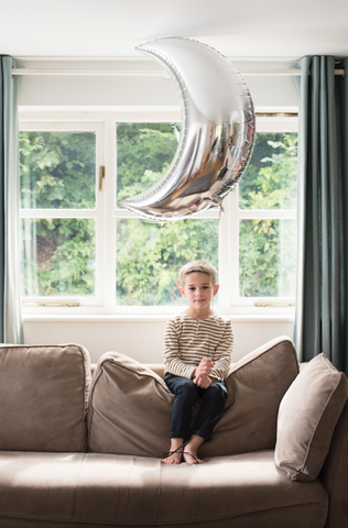 "35"" Silver Crescent Moon Foil Balloon"