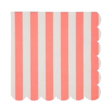 Meri Meri Coral Striped Napkin (Large)