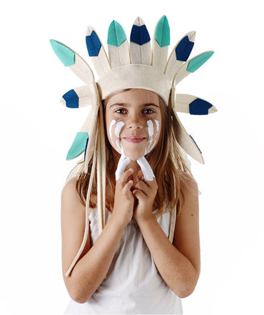 Short Felt Indian Headdress Turquoise | Frida's Tierchen