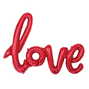 "40"" Red Love Script Foil Balloon"