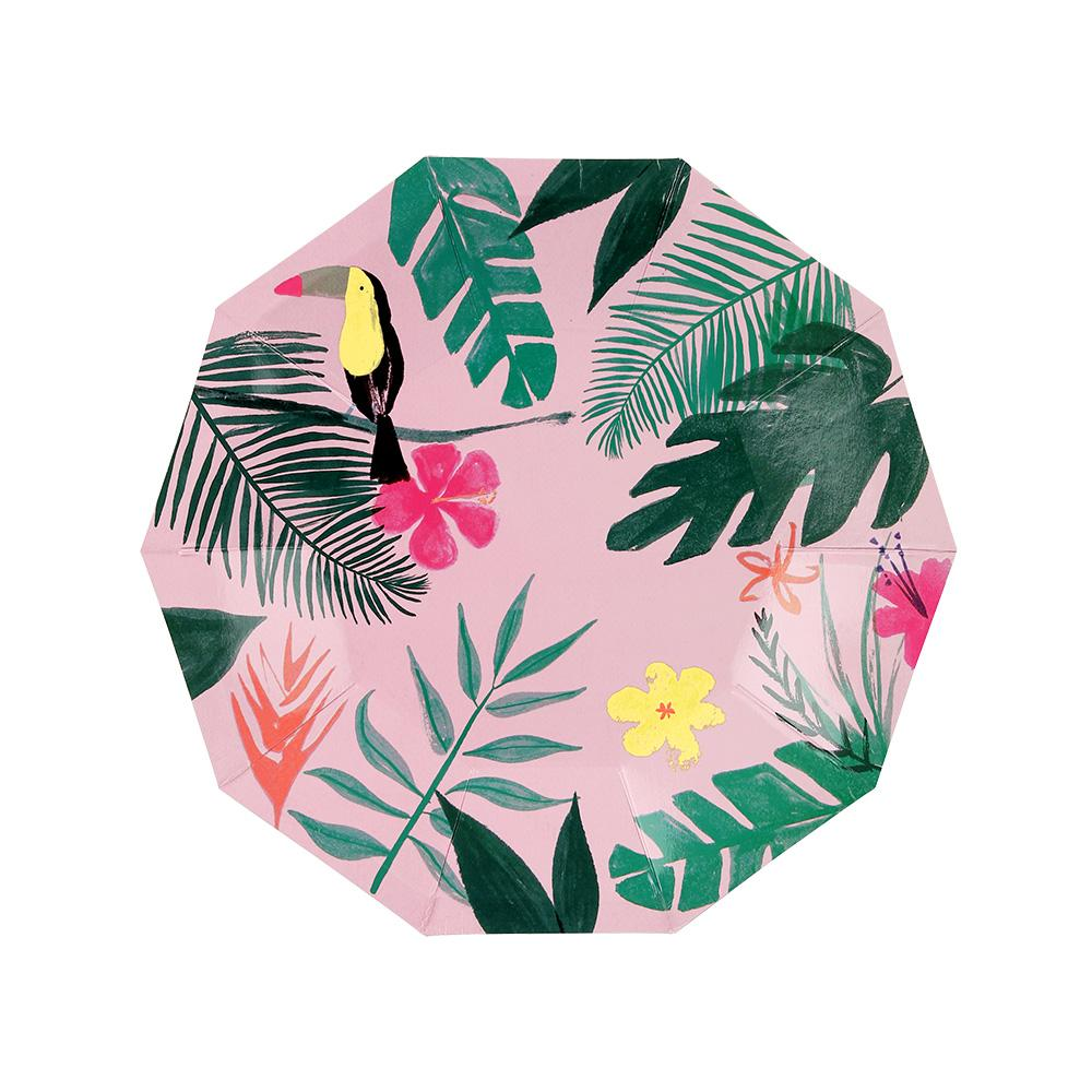 Meri Meri Pink Tropical Plates (Small)