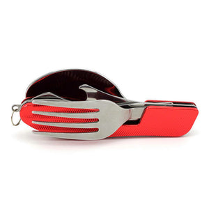 Ultimate 4 in 1 Folding Spoon Fork Knife & Bottle Opener (Stainless Steel)