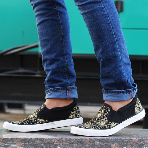Baroque Print Slip-on Sneakers for Men