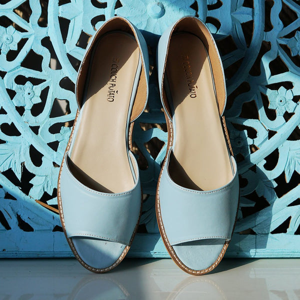 Light Blue Open Toe Flats