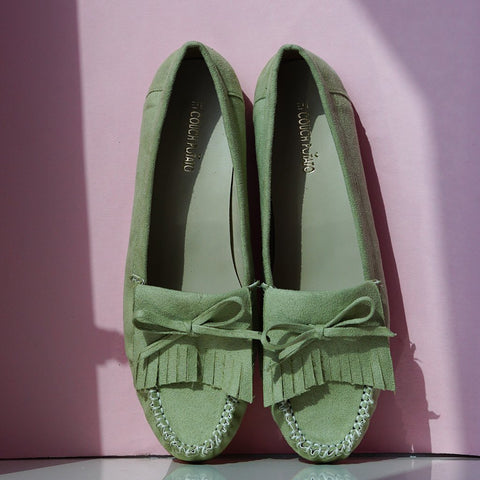 Green Suede Women Loafer Shoes