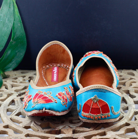 Women Light Blue Embellished Mojaris