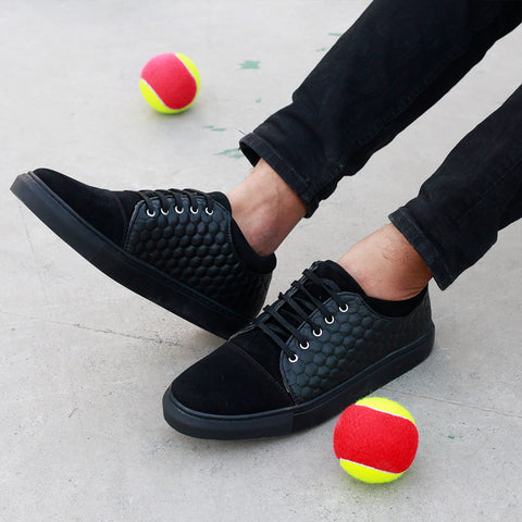 Suede Cap-Toe Men's Textured Black Sneakers