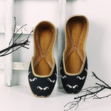 Moustache Print Black Mojaris