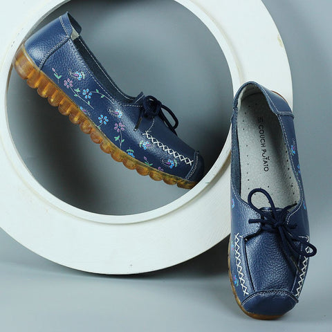 Blue Loafer Shoes with Floral Print
