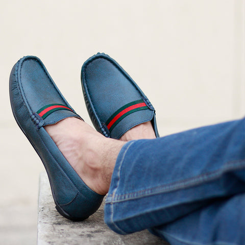 Contrast Stripe Men Blue Loafer Shoes