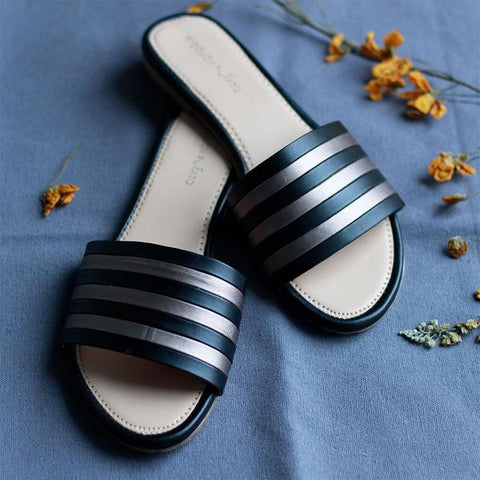 Striped Black & Grey Open Toe Flats