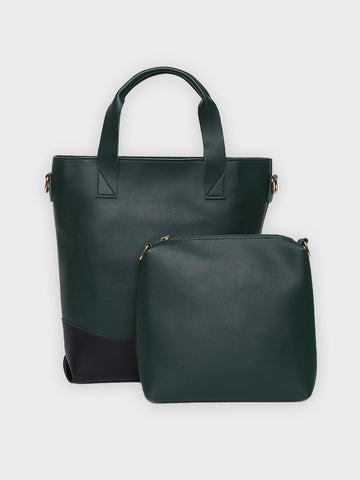 Color Blocked Solid Green Handbag