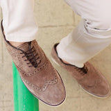 Men's Suede Brogue Oxford Shoes