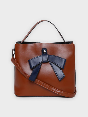 Bow Motif Tan Handbag