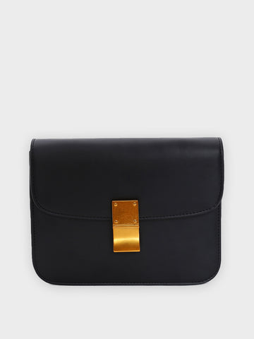Gold Buckle Black Sling Bag