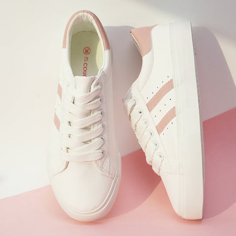 Solid ivory sneakers with side stripes for Women