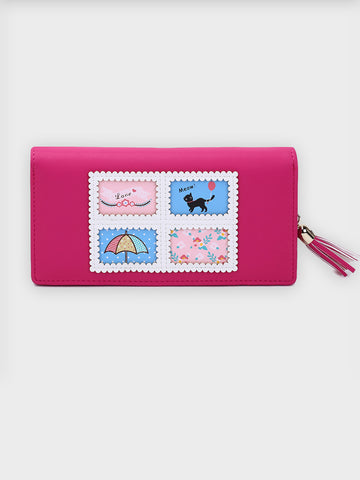 Cartoon Print Clutch With Tassel
