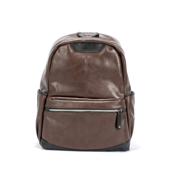 Faux Leather Brown Unisex Backpack