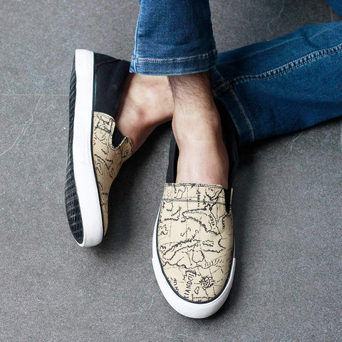 Funky Map Print Slip On Sneakers