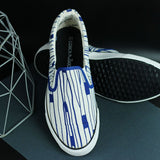 Couch Potato Printed Slip Ons - Blue : White