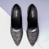 Black & White Abstract Print Pumps