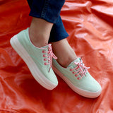 Fashion Sneakers lace up For Women : Teal