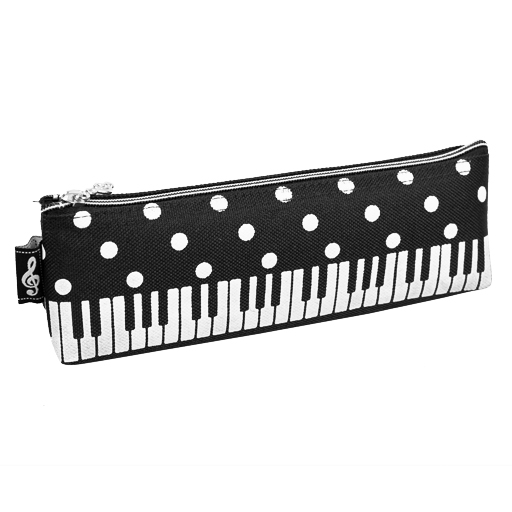 Pencil Case - Black with White Polka Dots & Keyboard