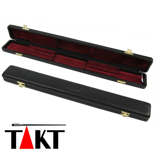 Baton Case - Takt Black Leather with Red Velvet Interior