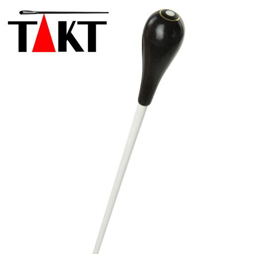 "Conductors Baton - Takt 15"" White Stick with Ebony Handle and Parisian Eye"
