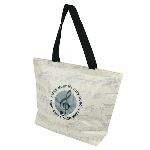 Bag - creme with grey manuscript. A grey circle in the middle with a black treble clef & I love music written on the front.  42 X33 cm.