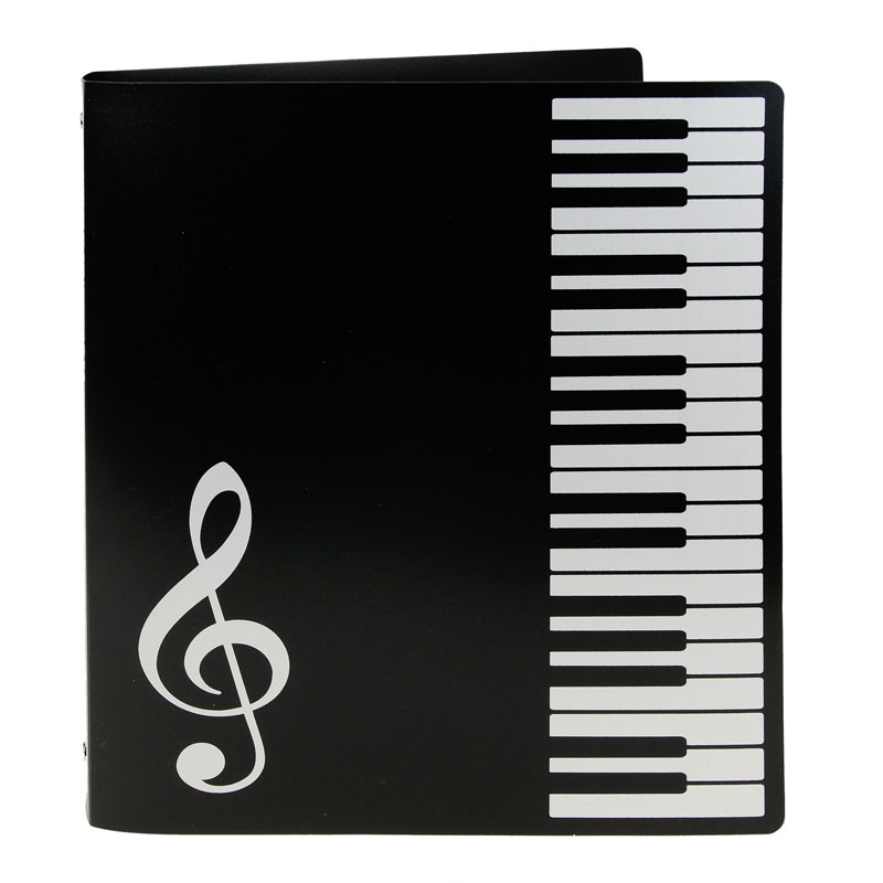 Folder - Ring Binder - 3 Rings - Black folder with a piano keyboard down the right hand side and a treble clef in the bottom left corner.