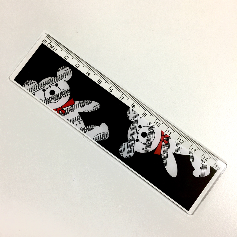 15cm ruler with musical bear.