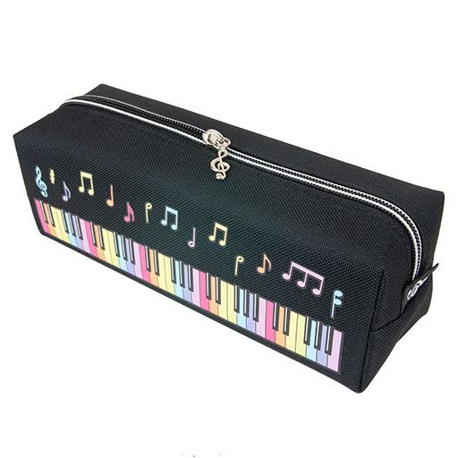 Black Pencil Case with Colourful Piano Keyboard