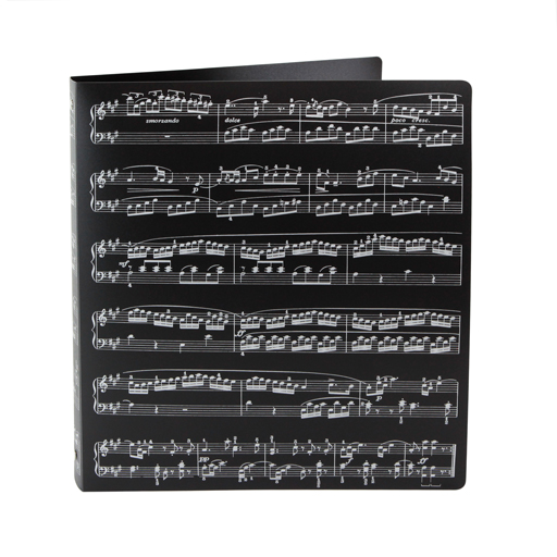 3 Ring Binder Folder - Display folder Black with Silver Manuscript Print