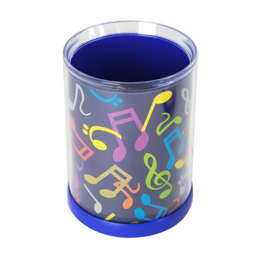 PEN HOLDER ROUND BLUE WITH COLOURFUL NOTES & CLEFS.