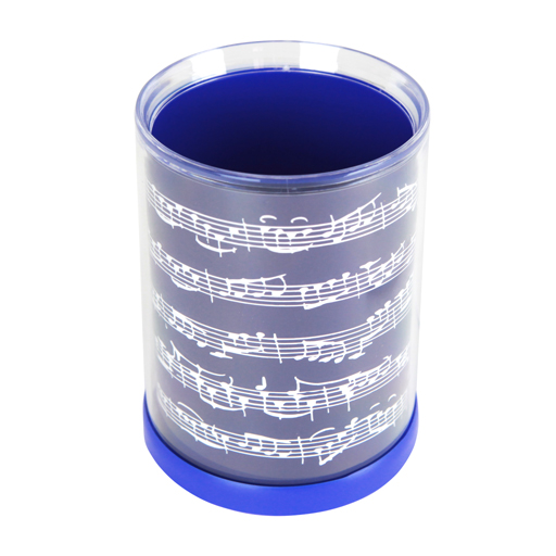 PEN HOLDER ROUND BLUE WITH WHITE MANUSCRIPT.