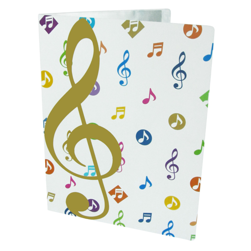 Display Book Folder 20 Pages White with Gold G Clef and Colourful Notes