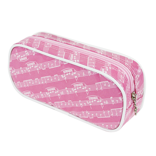 Pencil case pink with white manuscript & white edging